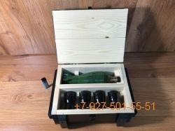 """ПН-005 """"Мина 0,5л. + 4 стопки в виде бомбочек"""", Набор для мужчины в ящике """"военный стиль"""""""