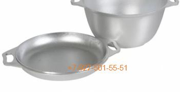 Ал-0603 Казан походный 6л. Алюминий с крышкой сковородкой, Kukmara