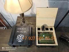 """ПН-006 """"МОН-50 0,7л. + 4 стопки в виде бомбочек"""", Набор для мужчины в ящике """"военный стиль"""""""