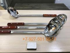 ШП-1145 Половник 11*45см. нерж.сталь с узором, цельнотянутый с дерев.ручкой