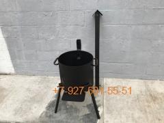 Печь № 0807-3мм. под казан 6,8л. с трубой и дверцей, со съемными ногами и полкой