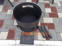 Печь № 0802-2мм. под казан 6,8л. со съемной полкой под угли и съемными ногами