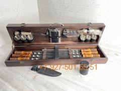 ШН-0027-П Шашлычный набор в деревянном ящике 20 предметов