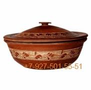 ПГ-002/274415 Миска для шашлыка большая красная глина с крышкой
