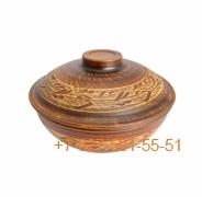 ПГ-060/296538 Сковорода (ангоб) красная глина резная