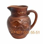 ПГ-01/295374 Молочник 0,5л керамика красная глина резная