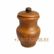 ПГ-01/295372 Молочник красная глина (крынка) 1л с крышкой гладкий